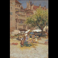 market scene in geneva by louis comfort tiffany