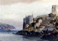dartmouth castle, st. petrock's church by alfred leyman