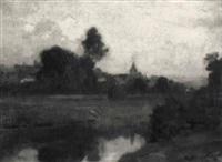 flusslandschaft mit ansicht eines dorfes by rodolphe piguet