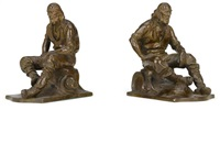 figural bookends: gold prospectors (set of 2) by max kalish