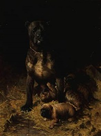 a mastiff with puppies by vilhelm theodor fischer