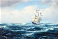 seascape with a sailing ship in high waves by johannes harders