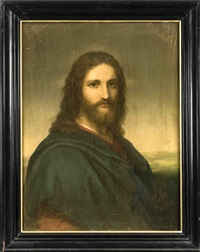 brustbildnis christi vor olivgrünem himmel über niedrigem horizont by heinrich hofmann