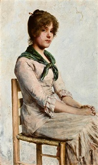 portrait of a young woman by charles frederick ulrich