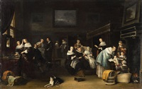 a dutch interior with groups of figures by anthonie palamedesz