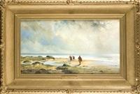 stimmungsvolle strandpartie mit krebs- u. muschelsammlern by henri lehon