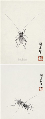 草虫 (二帧) cricket 2 works by qi baishi