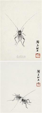 草虫 (二帧) cricket 2 works by qi baishi
