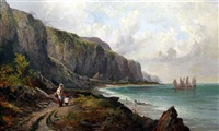 mother and child on the coast with fishing boats beyond by ferdinand franz hoepfner