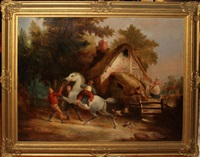 young boy mounting a white horse being restrained by two men by j.a. mulready