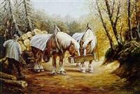zwei pferde eines holzfuhrwerkes an der raufe by georg aldinger