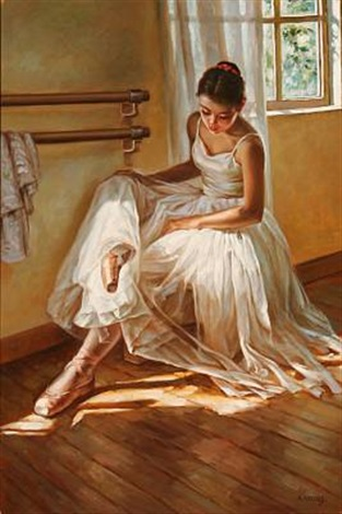 a ballet girl rests her feet by alexander akopov