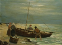 fishing boat and fishermen by joseph hastings bennett