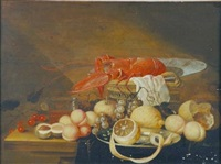 still life with lobster, lemons, nuts, grapes and a basket by david davidsz de heem the younger