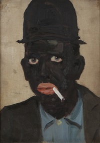 portrait of charles e. mack in blackface smoking a cigarette by david e. kornhauser