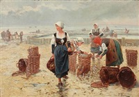 seashell collectors at a coast by pierre testu