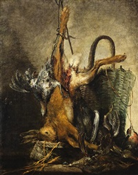 küchenstillleben mit hase und vögeln by matthäus loder