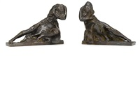 a pair of figural bookends: a mother and child and a bearded male figure by robert ingersoll aitken