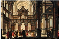a church interior with the presentation of jesus in the temple by dirck van delen