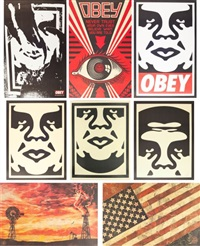 andre (3 works); obey; flag; obey ripped; red eye; evolve devolve (8 works in total) by shepard fairey