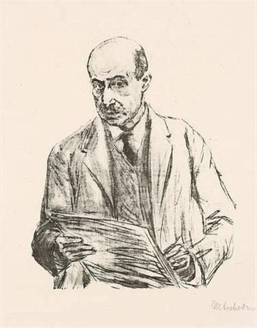 selbstporträt, zeichnend by max liebermann