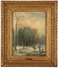figures in a winter landscape by alexander joseph daiwaille