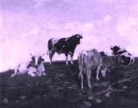 kühe und stier an einem berghang by edouard-louis-auguste metton