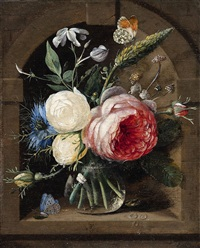 a pair of floral still lifes with roses and wild flowers in a vase by gaspar pieter verbrüggen the elder