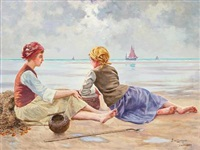 fishing girls on a beach at the english channel in france by emil (harald emanuel) lindgren
