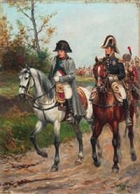 kaiser napoléon (1769–1821) und marschall ney (1769–1815) zu pferd, gefolgt von einer husareneinheit des 6. oder 9. regiments by paul emile léon perboyre