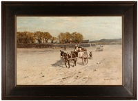figures in burro-drawn carts (arizona?) by harvey otis young