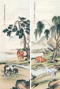 双骏图 (二幅) 对屏 纸本 (pair) by ma jin