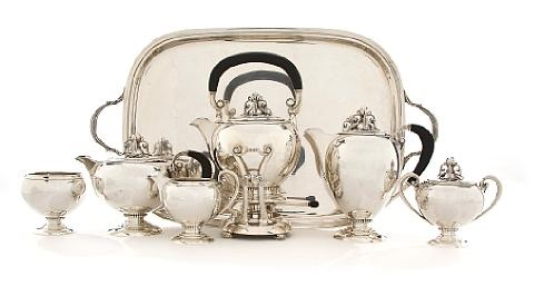 tea and coffee service with tray (set of 7) by fisher silversmiths (co.)