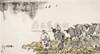 春到草原 (figures and buffalo) by deng jingmin