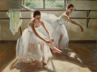 two girls practicing ballet at a barre by alexander akopov