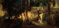 figurenreiche szenerie in einem harem by friedrich ernst wolfrom