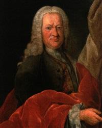portrait eines landesherren mit weiß gepuderter perücke und rotem umhang by jacob hauck