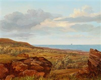 coastel scenery with boats at sea by ernst meyer