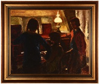 three girls in an interior playing piano by clemen jeppe clemmensen