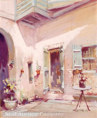french quarter courtyard, new orleans by arnold e. turtle