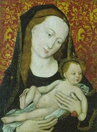 maria mit kind, das kind eine rose haltend by master of the magdalen legend