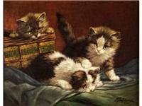 drei kätzchen auf einem tuch neben einem nähkorb spielend by raaphorst
