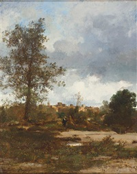 südliche landschaft mit malerischem städtchen by jules dupré