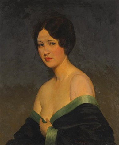 a portrait of the artists wife estelle by kenneth newell avery