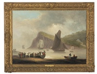 ferry leaving from teignmouth beach, ness point, devon by thomas luny