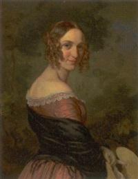 portræt af skuespillerinde louise amalie petrine phister, f. petersen by emilius baerentzen