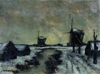 winters molenlandschap by toon koster
