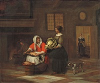 kitchen interior with two women by pieter de hooch