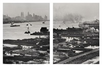 the hudson river and lower manhattan from above (2 works) by andreas feininger