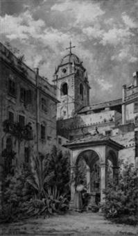 frau am ziehbrunnen (cortile di s. silvestro) by carl vogel